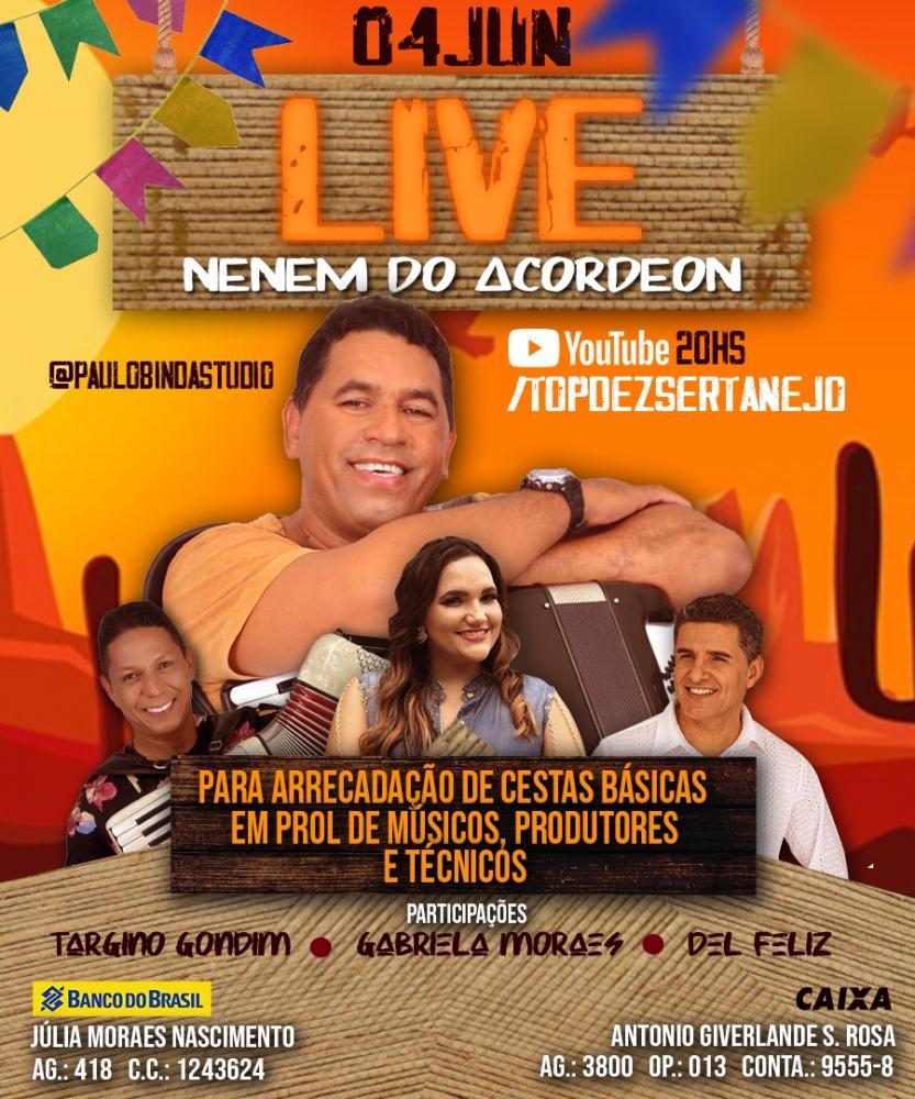 Hoje tem live de Nenem do Acordeon em prol de músicos, produtores e técnicos.