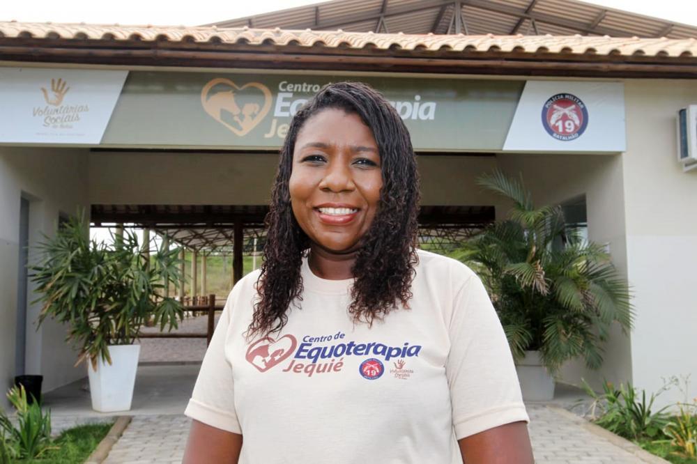 Tenente PM Carla Christiane, coordenadora do Centro de Equoterapia de Jequié / Foto: Alberto Coutinho/GOVBA